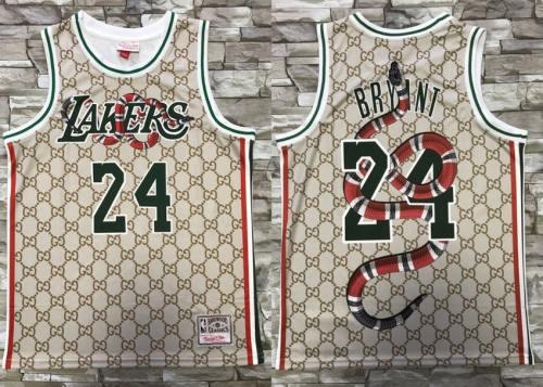 Men's Lakers #24 Kobe Bryant Gray Mamba Snake Fashion Hardwood Classics Swingman Jersey