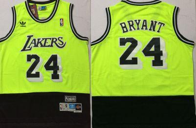 Men's Lakers #24 Kobe Bryant Green Black Stitched Hardwood Classics Basketball Jersey