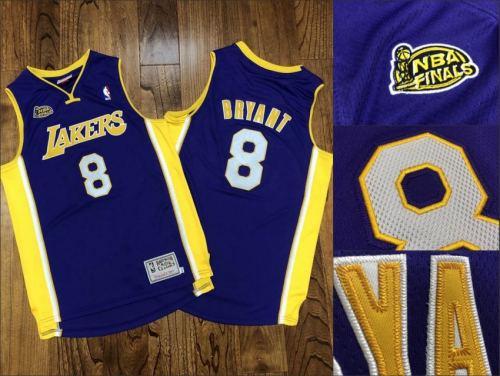 Men's Lakers #24 Kobe Bryant Purple Stitched 2000-01 Finals Champions Hardwood Classics Basketball Jersey