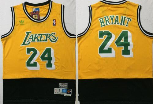 Men's Lakers #24 Kobe Bryant Yellow Green Black Stitched Hardwood Classics Basketball Jersey