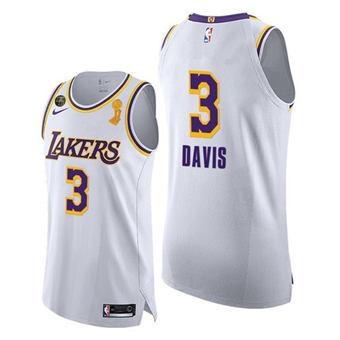 Men's Lakers #3 Anthony Davis White Association 2020 Finals Champions KB Patch Jersey BLM Edition