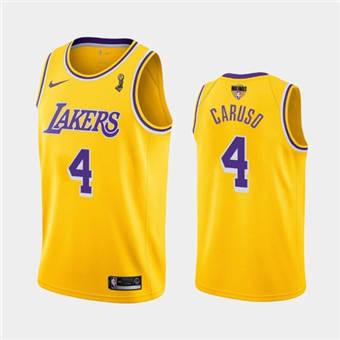 Men's Lakers #4 Alex Caruso Gold Icon Edition 2020 Finals Champions Jersey