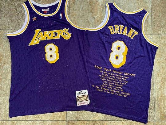 Men's Lakers #8 Kobe Bryant Career Honors Stitched 1996-97 Hardwood Classics Purple Memorial Jersey