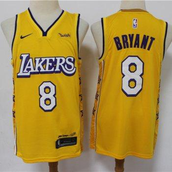 Men's Lakers #8 Kobe Bryant Gold New 2019-2020 City Edition Swingman Basketball Jersey