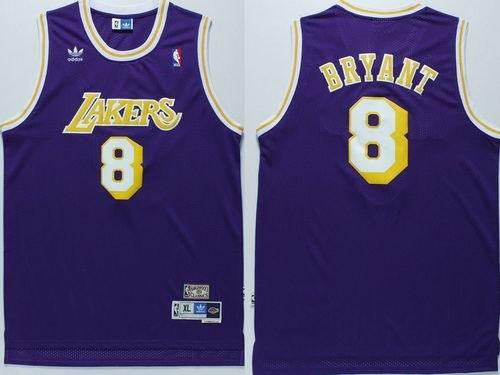 Men's Lakers #8 Kobe Bryant Purple Throwback Stitched Hardwood Classics Basketball Jersey