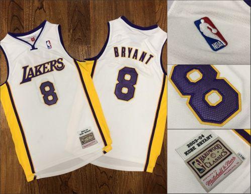 Men's Lakers #8 Kobe Bryant White Stitched 2003-04 Hardwood Classics Basketball Jersey