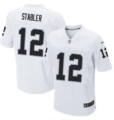Men's Las Vegas Raiders #12 Kenny Stabler White Elite Stitched Football Jersey