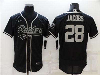 Men's Las Vegas Raiders #28 Josh Jacobs Black Flex Base Stitched Baseball Jersey