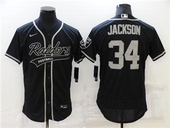 Men's Las Vegas Raiders #34 Bo Jackson Black Flex Base Stitched Baseball Jersey