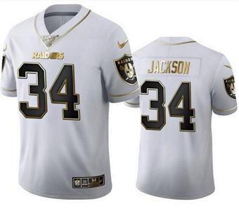 Men's Las Vegas Raiders #34 Bo Jackson White Golden Editon Limited Stitched Jersey