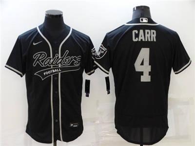 Men's Las Vegas Raiders #4 Derek Carr Black Flex Base Stitched Baseball Jersey