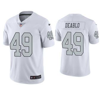 Men's Las Vegas Raiders #49 Divine Deablo White Stitched Football Limited Rush Jersey
