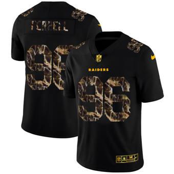 Men's Las Vegas Raiders #96 Clelin Ferrell Black Flocked Lightning Vapor Limited Football Jersey
