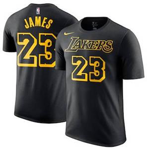 Men's LeBron James Los Angeles Lakers  City Edition Name & Number Performance T-Shirt – Black