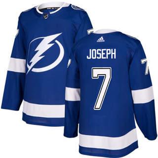 Men's Lightning #7 Mathieu Joseph Blue Home Authentic Stitched Hockey Jersey