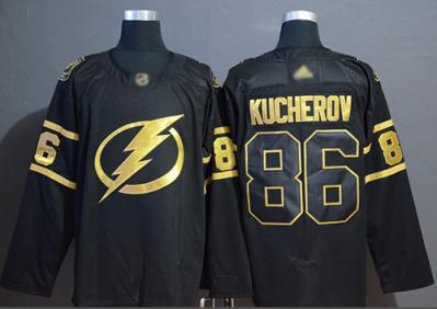 Men's Lightning #86 Nikita Kucherov Black Gold Authentic Stitched Hockey Jersey