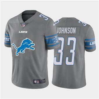 Men's Lions #33 Kerryon Johnson Steel Football Team Big Logo Fashion Vapor Limited Jersey