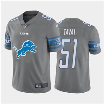 Men's Lions #51 Jahlani Tavai Steel Football Team Big Logo Fashion Vapor Limited Jersey