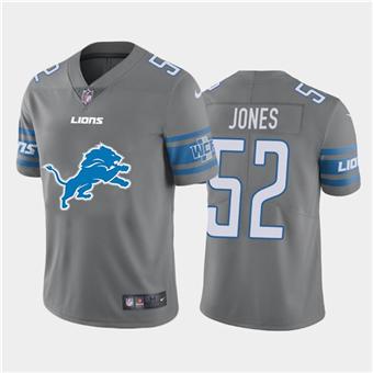 Men's Lions #52 Christian Jones Steel Football Team Big Logo Fashion Vapor Limited Jersey