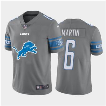 Men's Lions #6 Sam Martin Steel Football Team Big Logo Fashion Vapor Limited Jersey