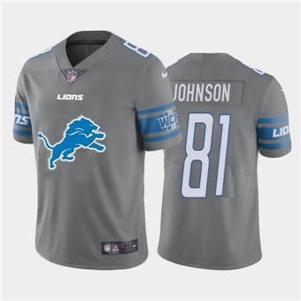 Men's Lions #81 Calvin Johnson Steel Football Team Big Logo Fashion Vapor Limited Jersey