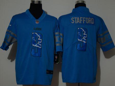 Men's Lions #9 Matthew Stafford Blue Football Color Printing Fashion Vapor Untouchable Limited Jersey