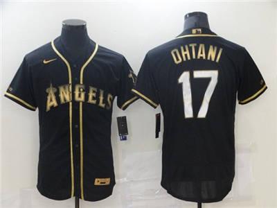 Men's Los Angeles Angels #17 Shohei Ohtani 2021 Black Golden Edition Flex Base Stitched Baseball Jersey