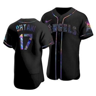 Men's Los Angeles Angels #17 Shohei Ohtani 2021 Black Iridescent Logo Flex Base Stitched Baseball Jersey