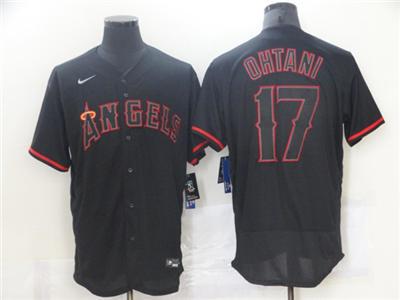 Men's Los Angeles Angels #17 Shohei Ohtani Black Flex Base Stitched Baseball Jersey