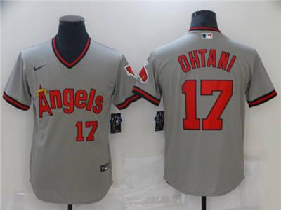 Men's Los Angeles Angels #17 Shohei Ohtani Gray Cool Base Stitched Baseball Jersey