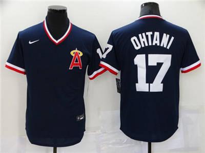 Men's Los Angeles Angels #17 Shohei Ohtani Navy Cool Base Stitched Baseball Jersey