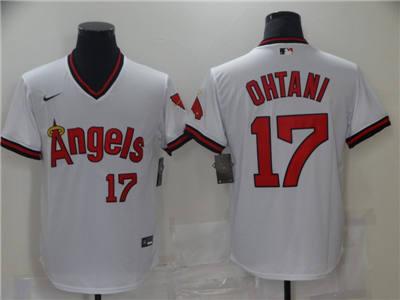 Men's Los Angeles Angels #17 Shohei Ohtani White Cool Base Stitched Baseball Jersey
