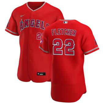 Men's Los Angeles Angels #22 David Fletcher Red Alternate 2020 Authentic Player Baseball Jersey