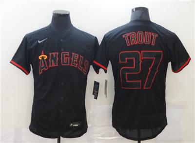 Men's Los Angeles Angels #27 Mike Trout Black Flex Base Stitched Baseball Jersey