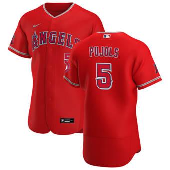 Men's Los Angeles Angels #5 Albert Pujols Red Alternate 2020 Authentic Player Baseball Jersey