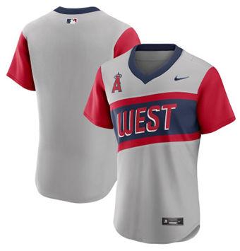 Men's Los Angeles Angels Blank 2021 Grey Little League Classic Road Flex Base Stitched Baseball Jersey