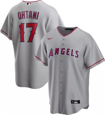 Men's Los Angeles Angels White #17 Shohei Ohtani Grey Cool Base Stitched Baseball Jersey