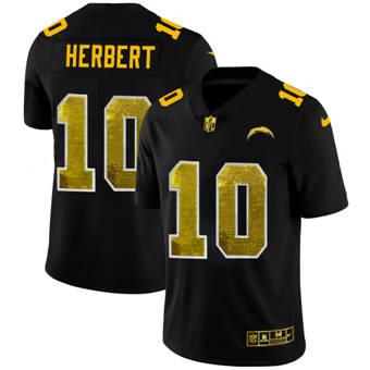 Men's Los Angeles Chargers #10 Justin Herbert Black Golden Sequin Vapor Limited Football Jersey
