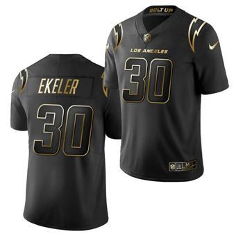 Men's Los Angeles Chargers #30 Austin Ekeler Golden Black Limited Stitched Jersey
