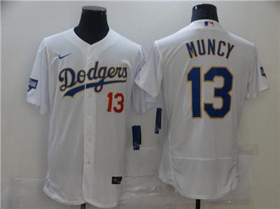 Men's Los Angeles Dodgers #13 Max Muncy White Gold Championship Flex Base Sttiched Baseball Jersey