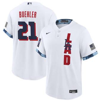 Men's Los Angeles Dodgers #21 Walker Buehler 2021 White All-Star Cool Base Stitched Baseball Jersey
