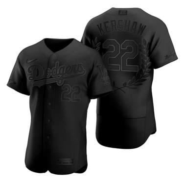 Men's Los Angeles Dodgers #22 Clayton Kershaw Black Baseball MVP Limited Player Edition Jersey