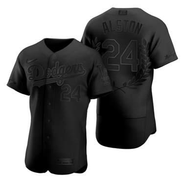 Men's Los Angeles Dodgers #24 Walter Alston Black Baseball MVP Limited Player Edition Jersey