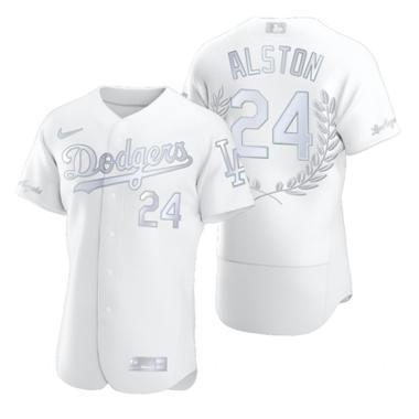 Men's Los Angeles Dodgers #24 Walter Alston Platinum Baseball MVP Limited Player Edition Jersey
