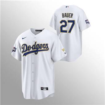 Men's Los Angeles Dodgers #27 Trevor Bauer White Gold Championship Cool Base Stitched Baseball Jersey