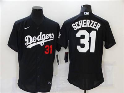 Men's Los Angeles Dodgers #31 Max Scherzer Black Flex Base Stitched Baseball Jersey