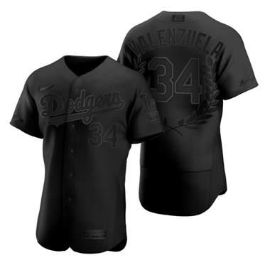 Men's Los Angeles Dodgers #34 Fernando Valenzuela Black Baseball MVP Limited Player Edition Jersey