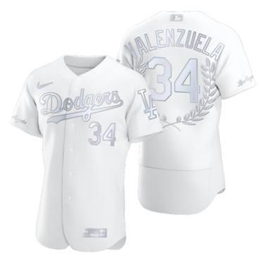 Men's Los Angeles Dodgers #34 Fernando Valenzuela Platinum Baseball MVP Limited Player Edition Jersey