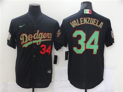 Men's Los Angeles Dodgers #34 Toro Valenzuela Black Green Mexico 2020 World Series Stitched Baseball Jersey