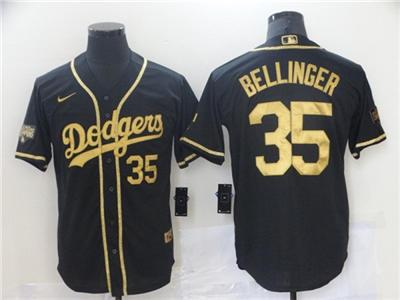 Men's Los Angeles Dodgers #35 Cody Bellinger Black Gold 2020 World Series Cool Base Stitched Baseball Jersey